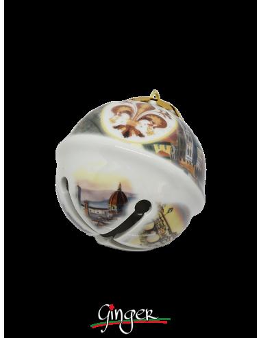"""Palla di Natale """"Bubbolo"""" con Giglio rosso - 80 mm"""