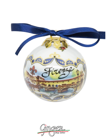 Christmas Ornaments: Florence Landscape and Ponte Vecchio 1.77 or 3.14 in.