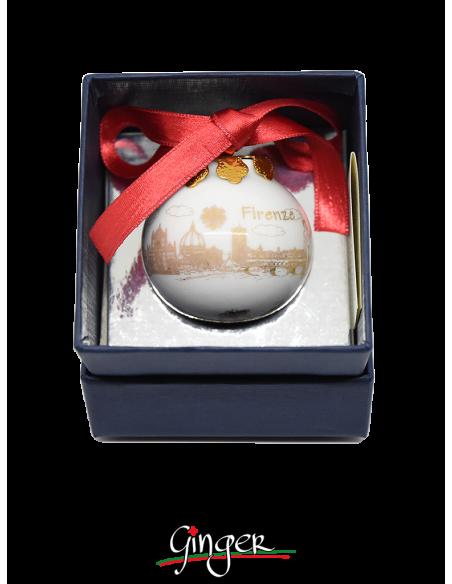 Palla di Natale - Firenze Monumenti con Giglio Oro - 45 mm