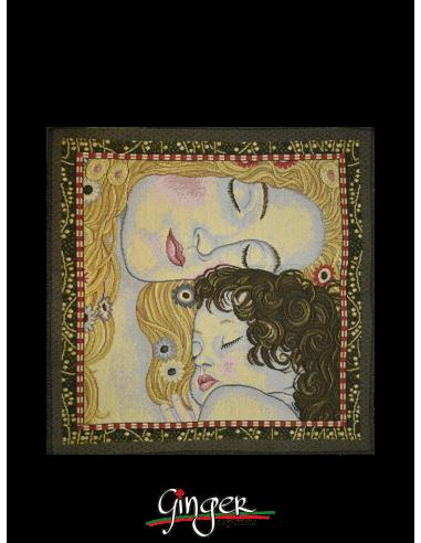 Madre e Figlia di Klimt - Arazzo o Cuscino 32x32 cm