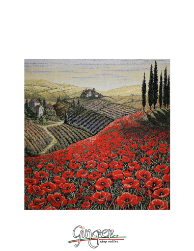 Tuscany Landscape: poppies - Tapestry or Pillow