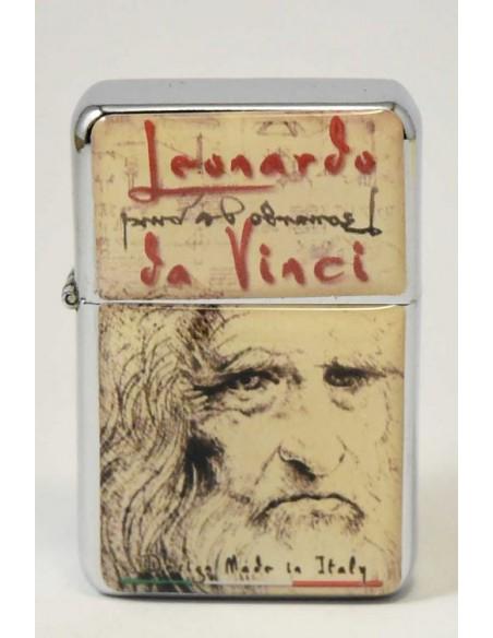 Accendino tipo Zippo con disegni di Leonardo da Vinci